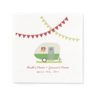 Green Retro Trailer Wedding Napkins