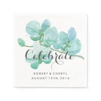 Green Watercolor Orchid Celebrate Wedding Napkins