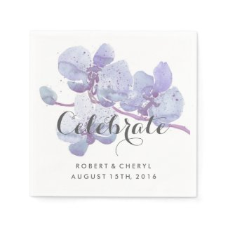 Purple Watercolor Orchid Celebrate Wedding Napkins