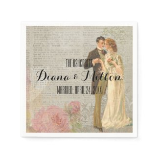 Victorian Style Bride and Groom Cocktail Size Paper Napkin