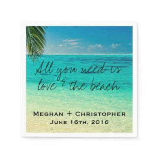 Love and The Beach Wedding Napkins