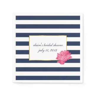 Navy Stripe & Pink Peony Bridal Shower Napkin