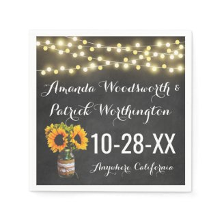 Sunflower Chalkboard Country Rustic Wedding Paper Napkin