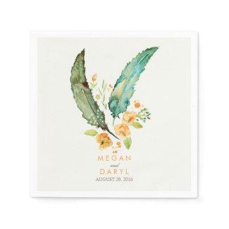 Feathers Bohemian Teal Wedding Napkin