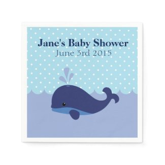 Whale Themed Boy Baby Shower Napkins