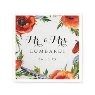 Red Poppies Personalized Wedding Paper Napkin
