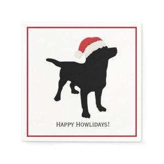 Cute Black Lab Dog with Christmas Santa Claus Hat Napkin