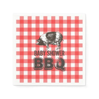 Red Gingham Pig Roast Baby Shower BBQ Napkin