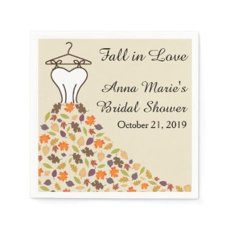 Fall Autumn Leaves Wedding Dress Bridal Shower Napkin