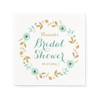 Mint Gold flower Wreath Bridal Shower Napkins