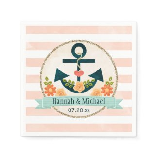 Coral and Navy Blue Nautical Anchor Wedding Paper Napkin