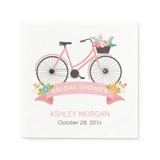 Bicycle Bridal Shower Elegant Chic Pink Flowers Paper Napkin