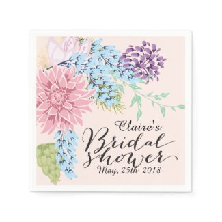 Spring Bouquet Bridal Shower Paper Napkin