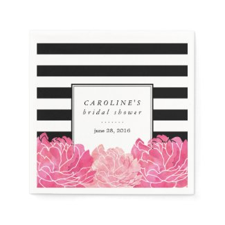 Black Stripe & Pink Peony Bridal Shower Napkin