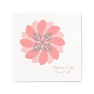 Modern Floral Coral Wedding Paper Napkins