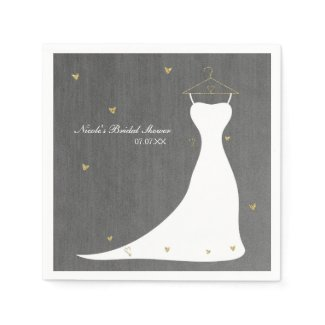 Modern Wedding Dress & Gold Hearts Bridal Shower Napkin