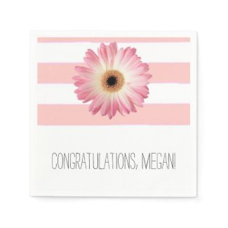 Pink Daisy Bridal Shower Napkins