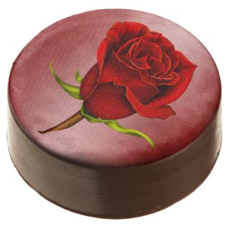 Single Red Rose on Red Marble Chocolate Dipped Oreo