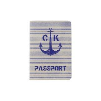 Nautical rustic anchor travel monogram passport holder