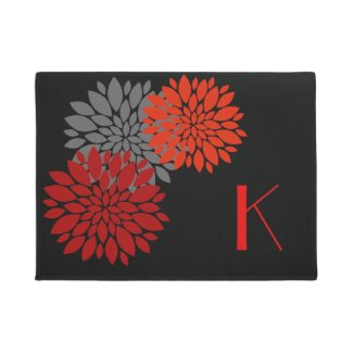 Red Flowers Monogrammed Door Mat
