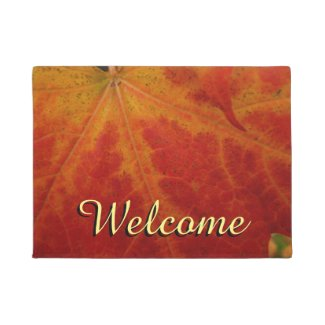 Red Maple Leaf Abstract Autumn Nature Photography Doormat