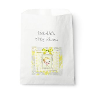Yellow and Gray Vintage Baby Shower Favor Bag