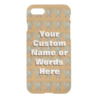 Gold Awareness Ribbon Art Custom Name iPhone Case