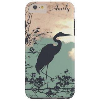 Blue Heron sunset monogram Tough iPhone 6 Plus Case