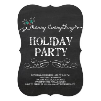 Merry Everything Vintage Chalkboard Holiday Party Card