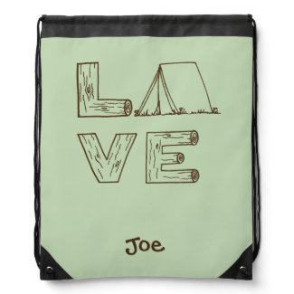 Love Tent Camping Hand Lettering with Name Drawstring Bag