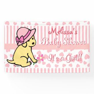 Yellow Labrador Pink Girl Baby Shower Banner