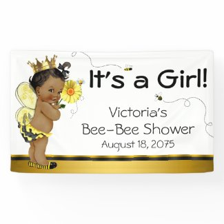 African American Girl Bee Baby Shower Banner