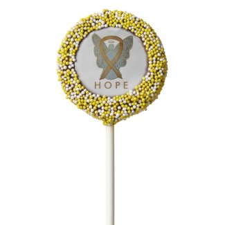 Gold Awareness Ribbon Customized Gift Cookie Pops