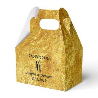 Golden Gabled Wedding Favor Box