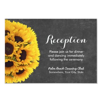 Country Sunflowers Chalkboard Wedding Reception Card
