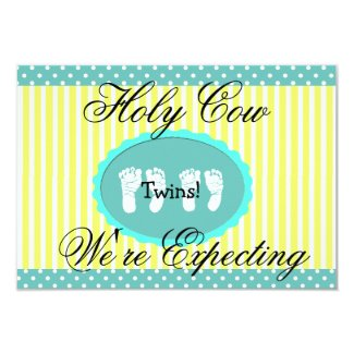 """Teal & Yellow """"We're Expecting Twins"""" Announcement"""