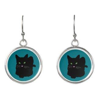 Custom Color Black Cat Earrings