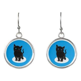 Black Kitten Earrings