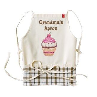 Grandma's Apron, with cute pink cupcake Zazzle HEART Apron
