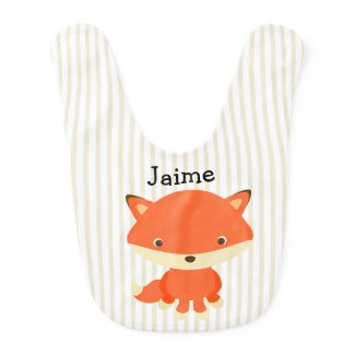 Personalize this Woodland Creature Fox Baby Bib