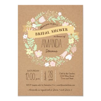 Whimsical Floral Wreath Craft Paper Bridal Shower Card