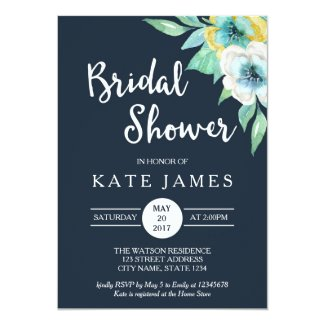Blue Watercolor Floral Bridal Shower Invitation