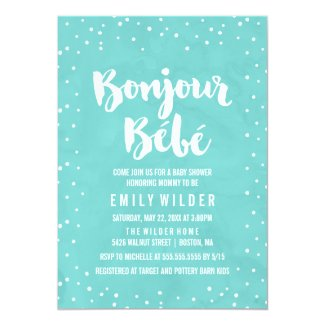 Bonjour Bebe Watercolor Baby Shower Card