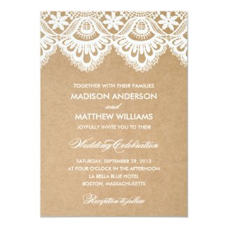 Rustic Kraft Paper and White Lace Wedding Invitations