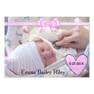 Glittery Pink Baby Girl Birth Announcement