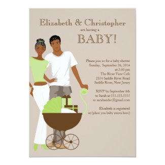 African American Couple Gender Neutral Baby Shower Card