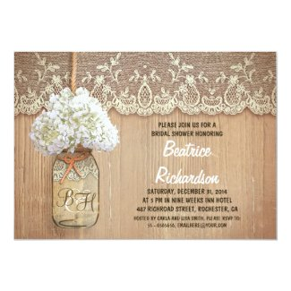 rustic mason jar white hydrangea bridal shower card