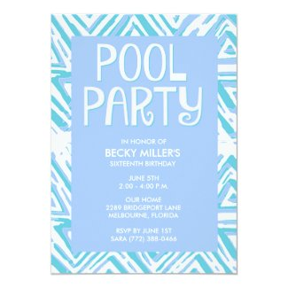 Girl's Blue Pool Party Summer Birthday Card