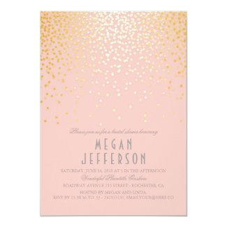 blush pink and gold confetti bridal shower card