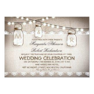 Burlap and Lace Wedding Invitation with Mason Jars